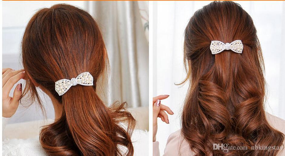 Vente chaude Mode Femmes Cristal Arc Cheveux Clip Fille Perles Épingle À Cheveux Or Ruban Décorer Accessoires / /