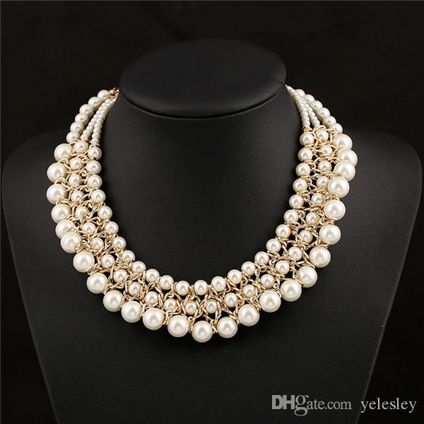 2019 Multilayer Big Imitation Pearl Necklace Women Chunky