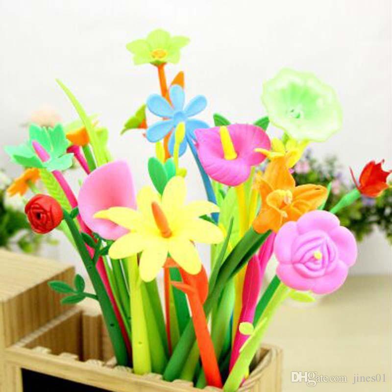 Freies verschiffen 12 teile / los Schöne Blume Gelschreiber Mode Geschenk Nette Zeichen Stift Schule Büromaterial Schreiben Lieferungen