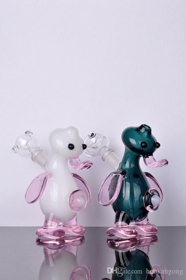 LOVELY duck cheap color Hookahs bongs glass water pipes percolator for smoking heady recycler oil rigs bubblers perc with nail