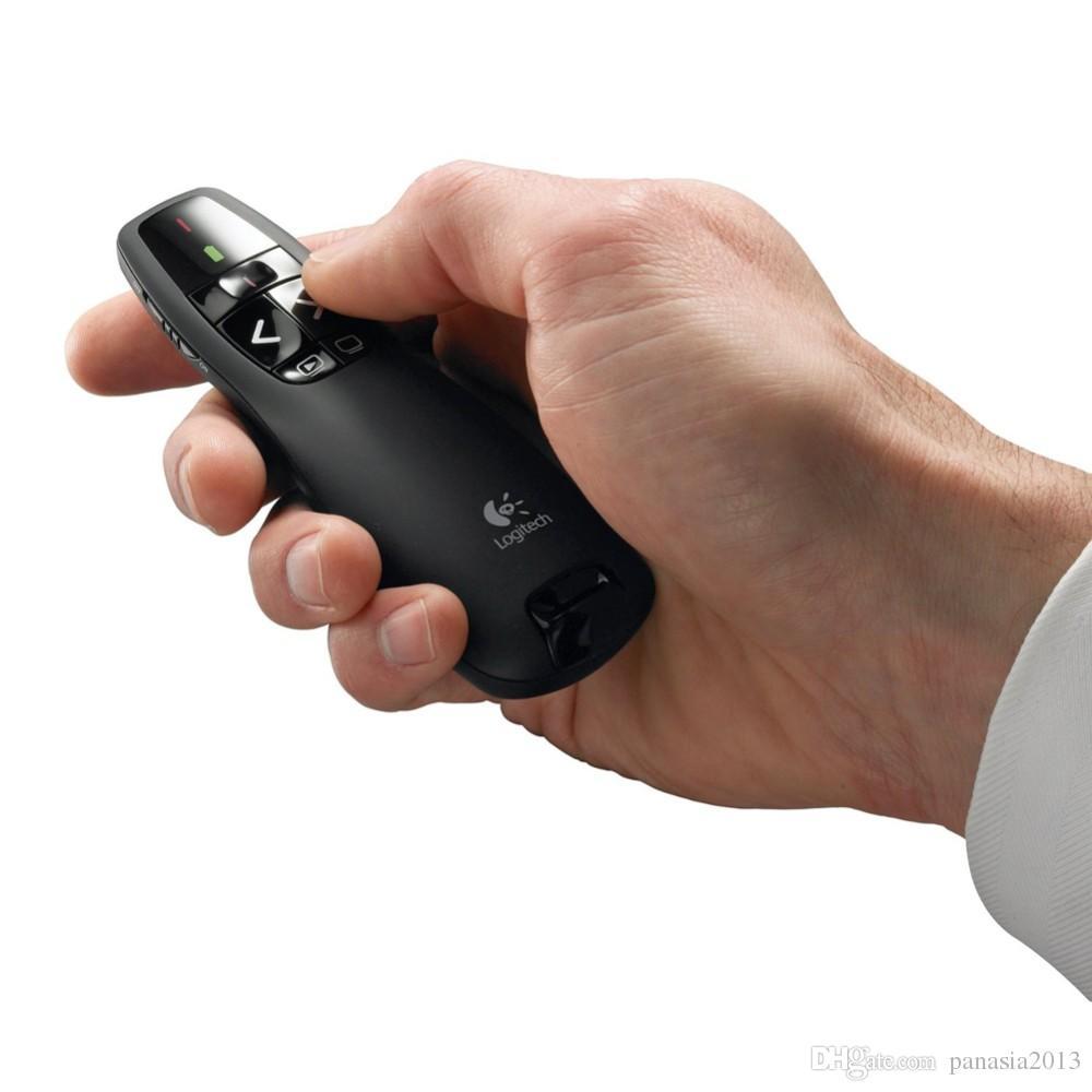 2016 New Arrival R400 2.4 GHz Mini USB sem fio Laser Pointer Apresentador com LED Red Laser caneta PPT apresentador de laser com pacote de varejo