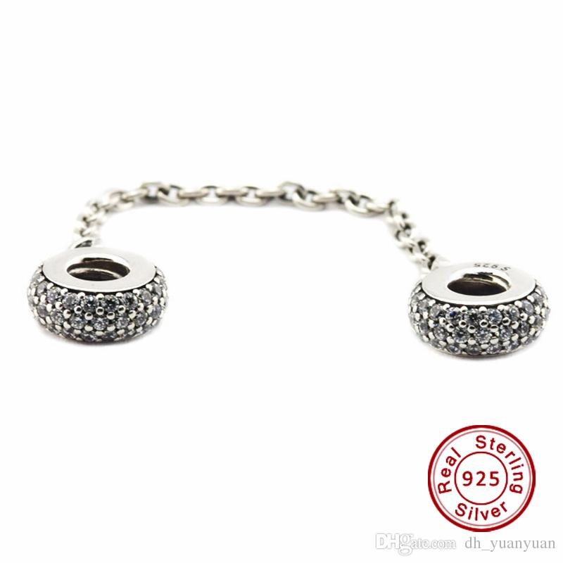 0a300dfad 2016 Pave Inspiration Safety Chain, Clear CZ 100% 925 Sterling Silver Beads  Fit Pandora Charms Bracelet Authentic DIY Fashion Jewelry