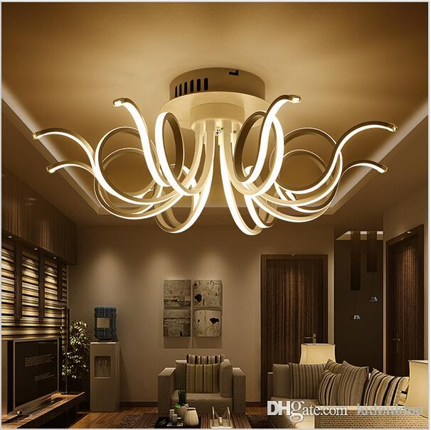 Modern Minimalist Led Ceiling Light Acrylic Chandeliers for Living ...