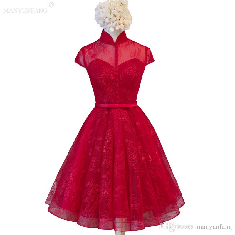 Hot Red Short Tulle Bridesmaid Dress 2018 High Neck Buttons A Line Capped Sleeves Full Lace Cover With Sash Bridesmaid Dresses Under 100