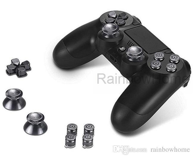 Metalen Bullet Abxy Button + Thumbsticks Thumt Sticks Grips + Chrome D-Pad Cross-toetsen voor PS4 PlayStation Dualshock 4 Controller