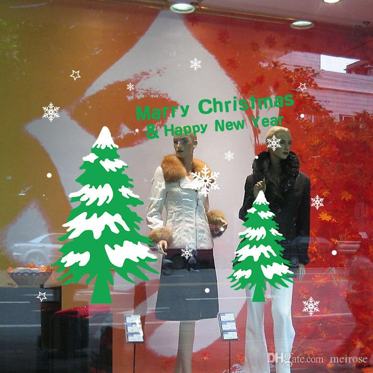 Shop Window Wall Stickers for Decorative Christmas Tree Xmas Home Decoration Window Display Removable Wallpaper Product Code:90-2032
