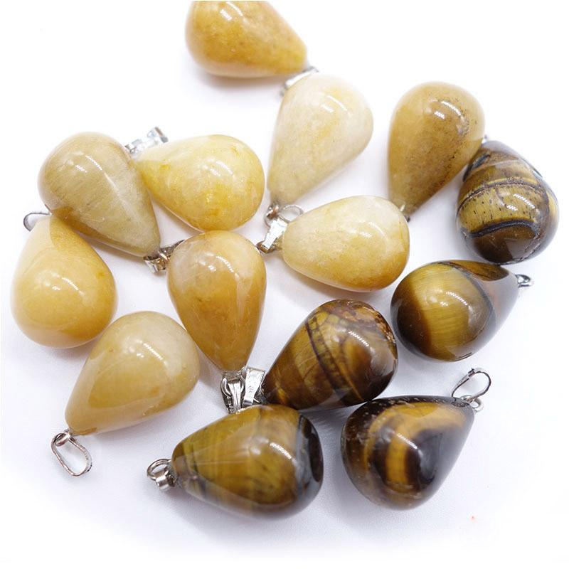 Healing Crystal Water Drop Pendants For Necklaces Pendulum Amethyst Opal obsidian Chakra Beads High Quality Jewelry Natural Stone Pendants