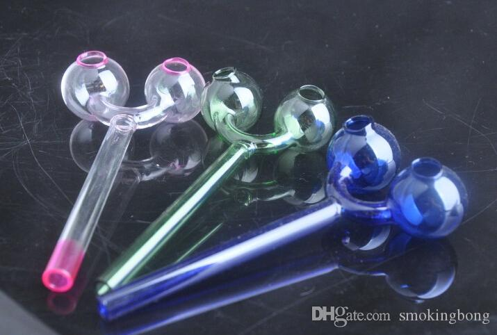 Crâne Design Tuyaux à fumer Double Pyrex Glass Burneur Multicolore Tuyau de la cuillère à boule ronde Tuyaux à la main