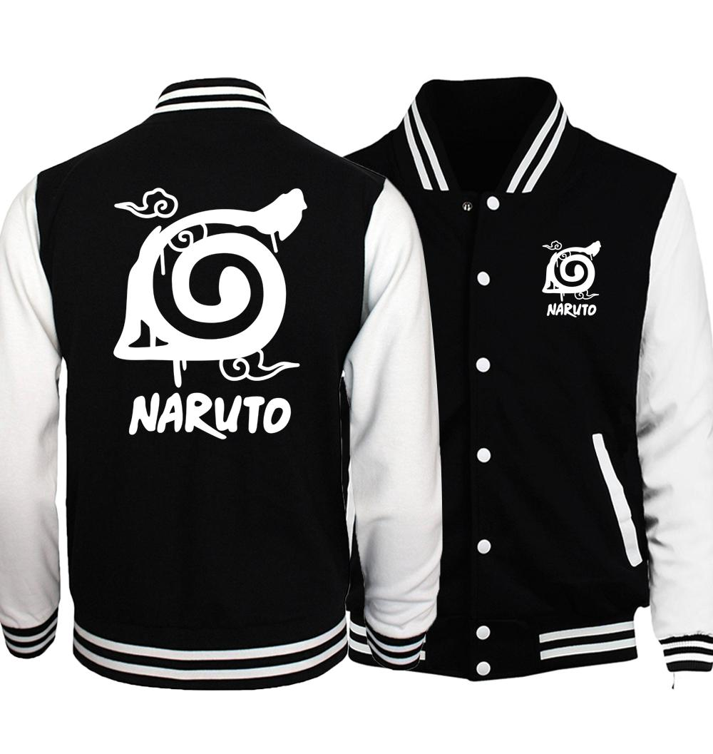 Wholesale- 2017 hot sale anime Uzumaki Naruto sweatshirts konoha printed unisex baseball jackets spring autumn tracksuits men women hoodies
