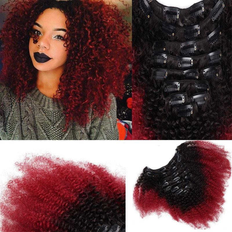 T1b Red Ombre Clip In Human Hair Extensions Afro Kinky Curly For