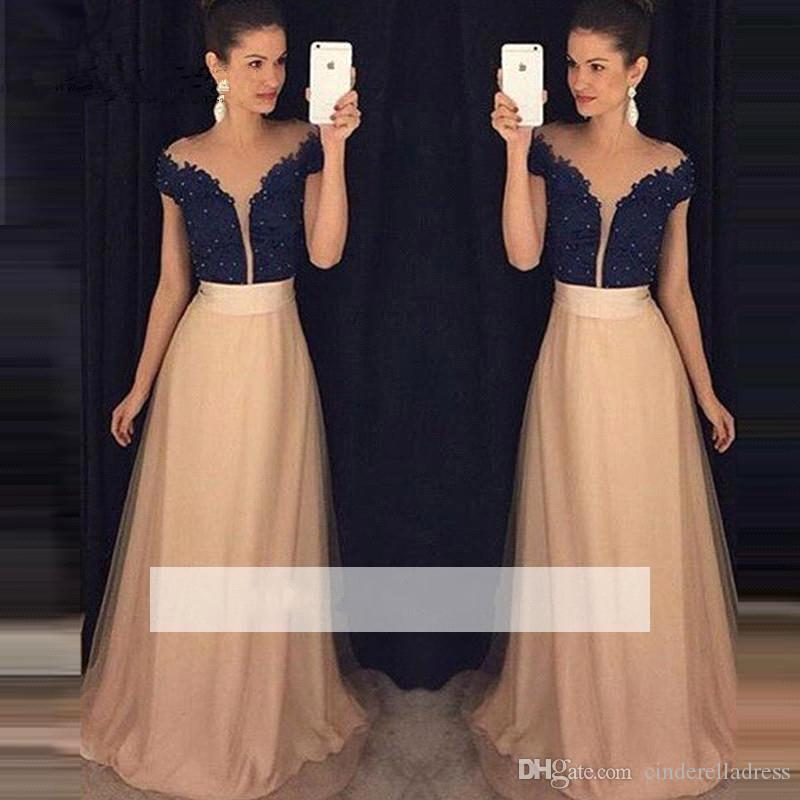 5223f9cf288 2017 Off Shoulder Black Lace Top Prom Dresses Cap Sleeves a Line Champagne  Chiffon Long Evening Formal Gowns BA3666