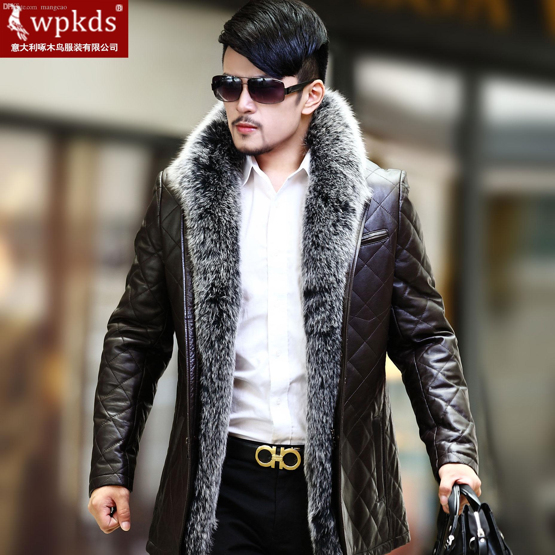 69921465c Fall-Wpkds new silver fox fur sheep skin leather leather jacket for men in  the long coat's special offer