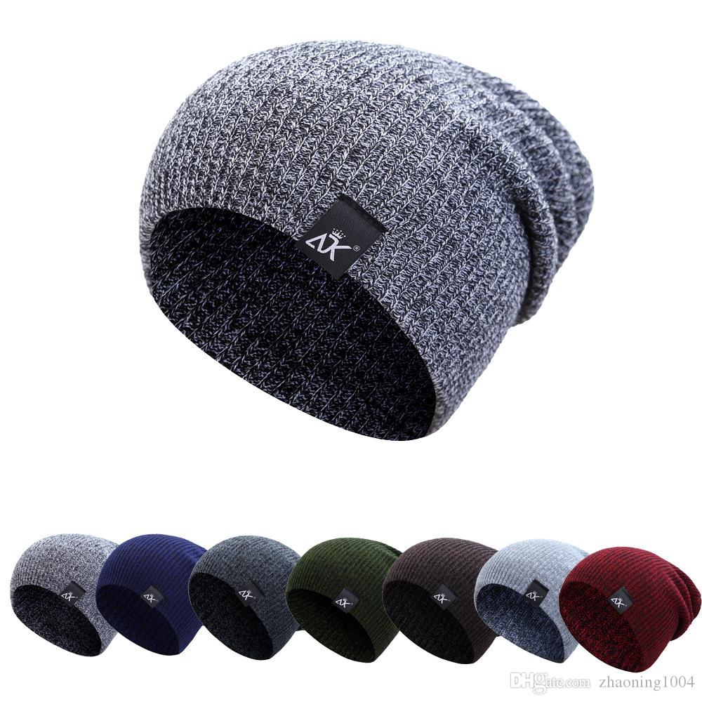 08268375c61 Classic Unisex Womens Mens Knit Baggy Acrylic Rib Beanie Knitted Hat For Adults  Winter Hip Hop Head Ear Warmer Slouchy Woman Sports Snow Cap Skull Caps ...