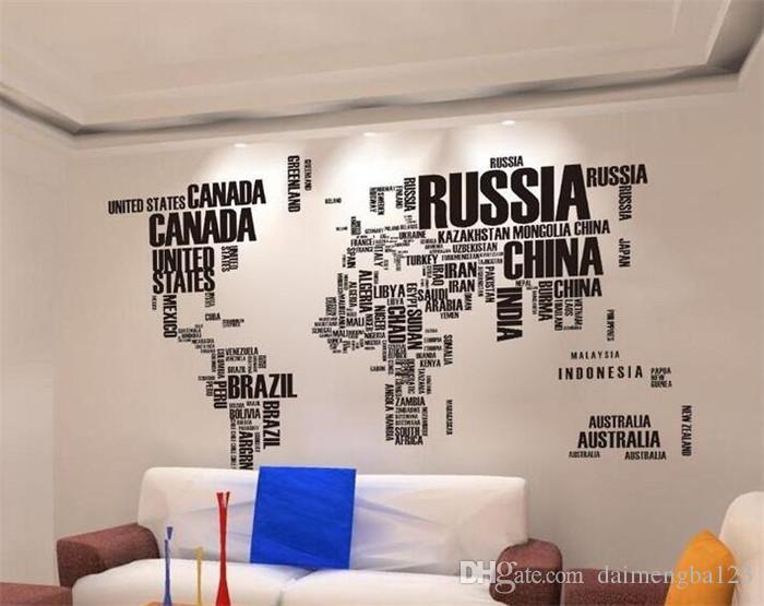 Acquista Moda Home Art World Map Wall Stickers Decorazione Della ...
