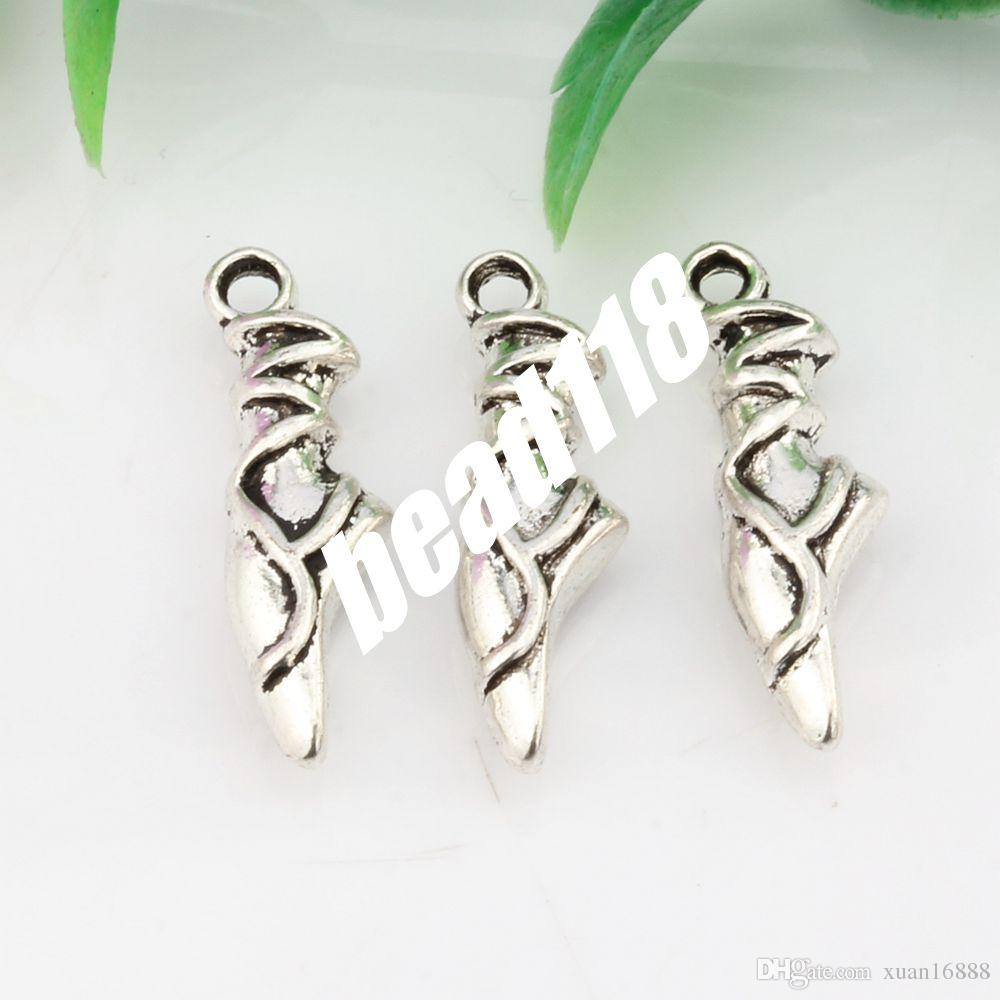 MIC Ancient silver Alloy Ballet Slipper Pointe Shoe Charm Pendant DIY jewelry 6.5*23mm