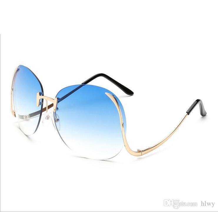 08980c5e3e Wholesale- 2017 Women Brand Sunglasses Cutting Rimless Gradient ...