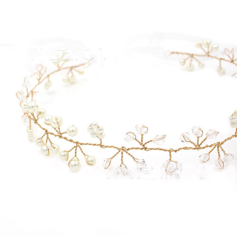 Crystal Pearls Encantadores tocados para niñas Oro y astillas Colores en venta Joyería nupcial Cabello Accesorios de boda