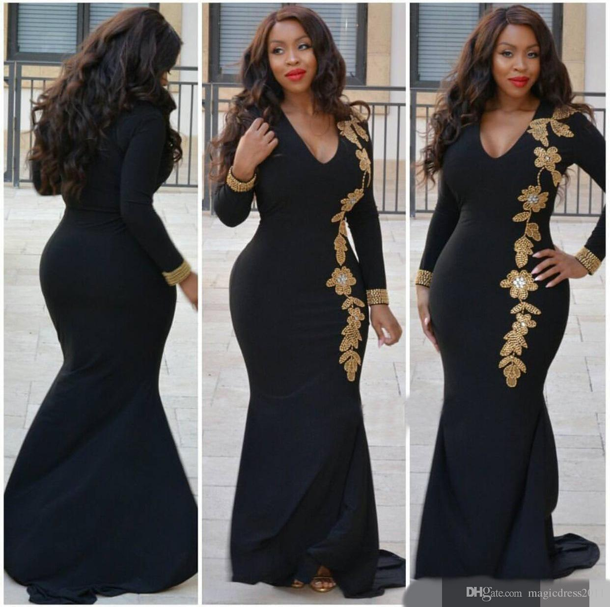 Plus Size 2017 Long Sleeves V Neck Crystal Beaded Beading Sheath Hot Sweep Train Elegant Evening Dresses Prom Dresses for Party Wear
