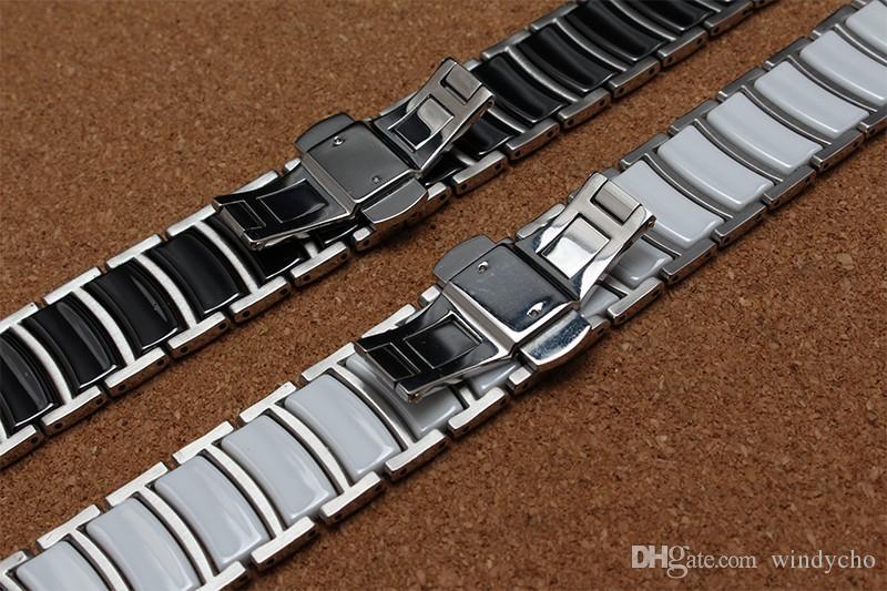 Nuevo estilo Metal de moda con brazalete de cerámica banda para mujer, hombres, accesorios de reloj 20 mm 22 mm para diamante o reloj inteligente Moda caliente