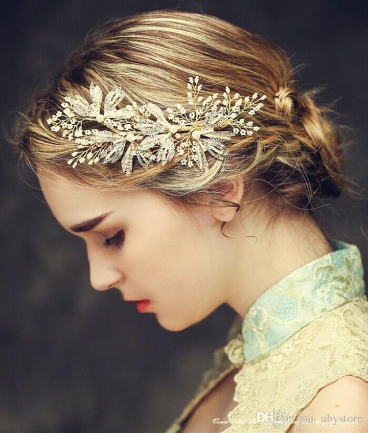 High End Gold Beaded Pearl Wedding Hair Jewelry Clip Rhinestone Bridal Tiara Comb Accessories Handmade Women Headpiece Headband