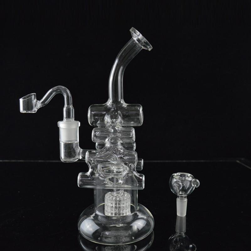 "Beaker Bong Recycler Oil Rigs Two Function Matrix Perc Water Pipes Bongs 8.6"" inches Tall Violin Dab Rigs Hookah Pipes for Sale"