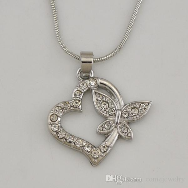 New Arrival Rhodium Plated Fashion Snake Chain Necklaces Carve Butterfly Inlay The Heart With White Crystal Gifts For Friends