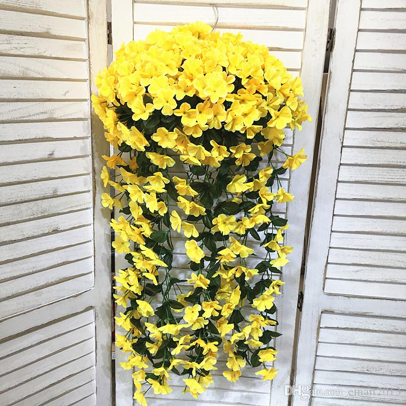 Gillyflower fiore artificiale canna Wall Hung fiori finti di nozze bouquet mazzi decorazione Fiori vaso da giardino con cesto di bambù