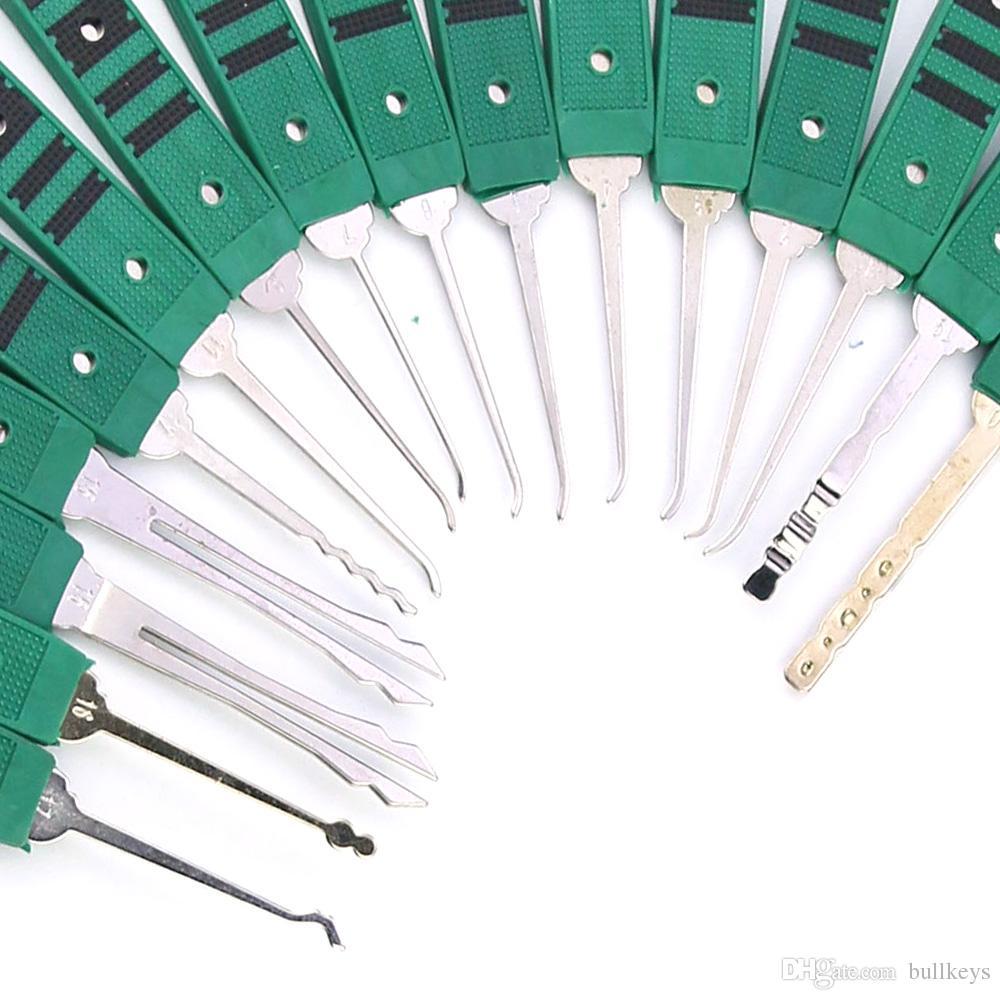 شحن مجاني 32-قطعة فتح قفل اختيار مجموعة أداة النازع الرئيسية مع قفل الممارسة شفافة