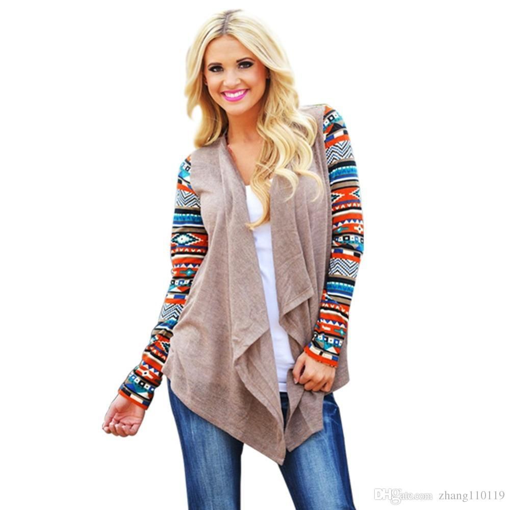 053cee9bb45 Cardigan Women Knitted Sweater Fashion Aztec Long Sleeve Striped Tops  Casual Long Cardigans Air Conditioning Asymmetrical Shirt Sweaters Women  Sweaters ...