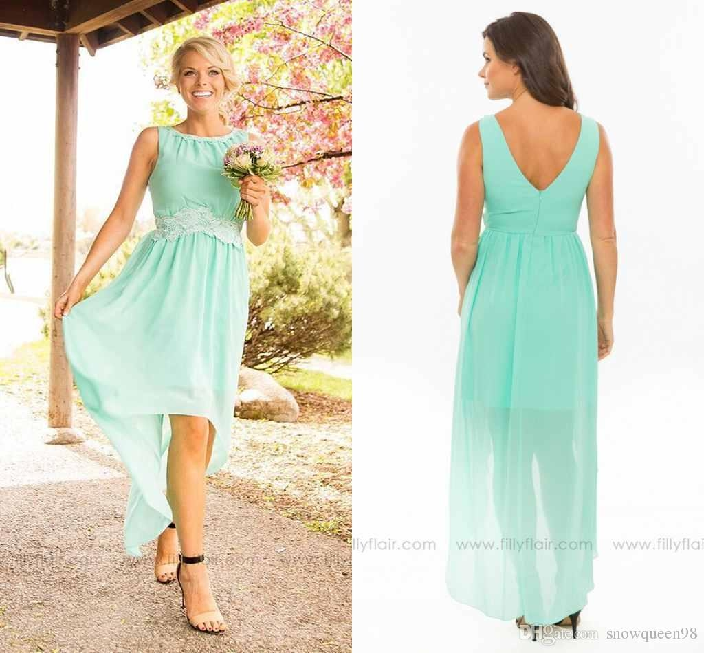 2016 simple modest mint green bridesmaid dresses high low v back 2016 simple modest mint green bridesmaid dresses high low v back lace chiffon junior bridesmaid dresses long wedding guest dresses chiffon bridesmaid ombrellifo Choice Image