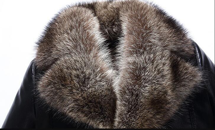 Abrigos de piel de oveja para hombre Chaquetas de cuero de invierno Collar de piel de mapache real Abrigo de nieve Calzado grueso Outwear Alta calidad de gran tamaño 4XL
