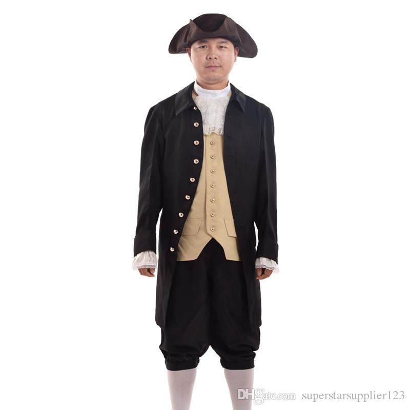 Vintage Uomini Rococo Cosplay Suit Colonial Revolution Costume Uniform Vest Pantaloni Calze di pizzo Collar Outfit