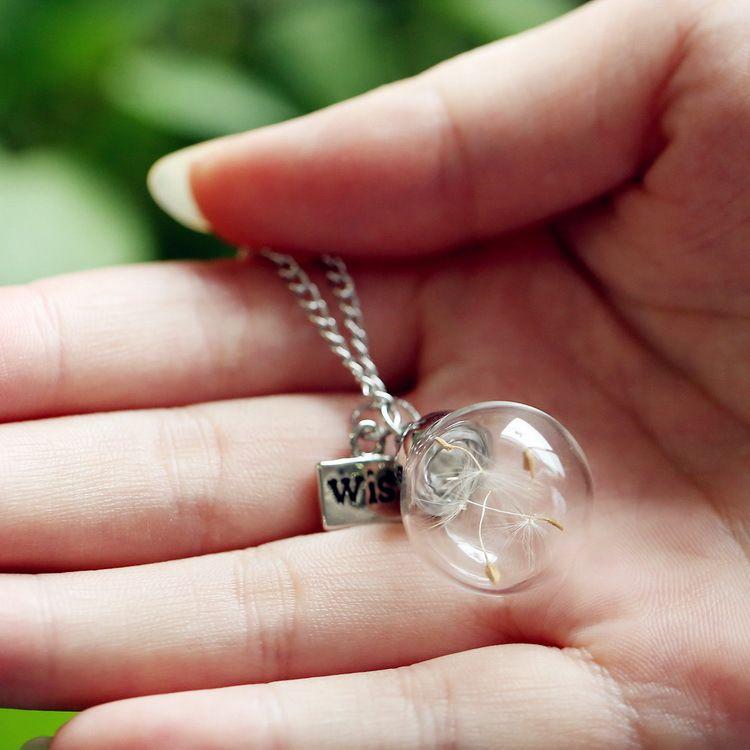 Diente de león Real semilla de vidrio Bombilla Deseo collar de mariposa Diente de león Collar de diente de león Letra del collar Deseo Botella de deriva Regalo de cumpleaños