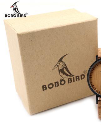 2018 heiße BOBO BIRD neue Mode Luxus Herrenuhr Holzuhr Ebenholz Mahagoni Kiefer zweifarbige Business-Quarzuhr aus Holz