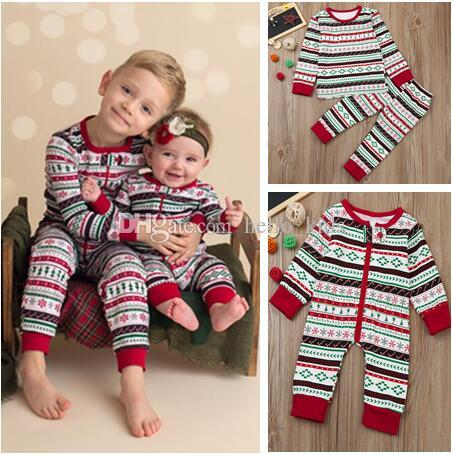 629aa6b27 2018 XMas Pajamas Suit Baby One Piece Romper Boys And Girls Long ...