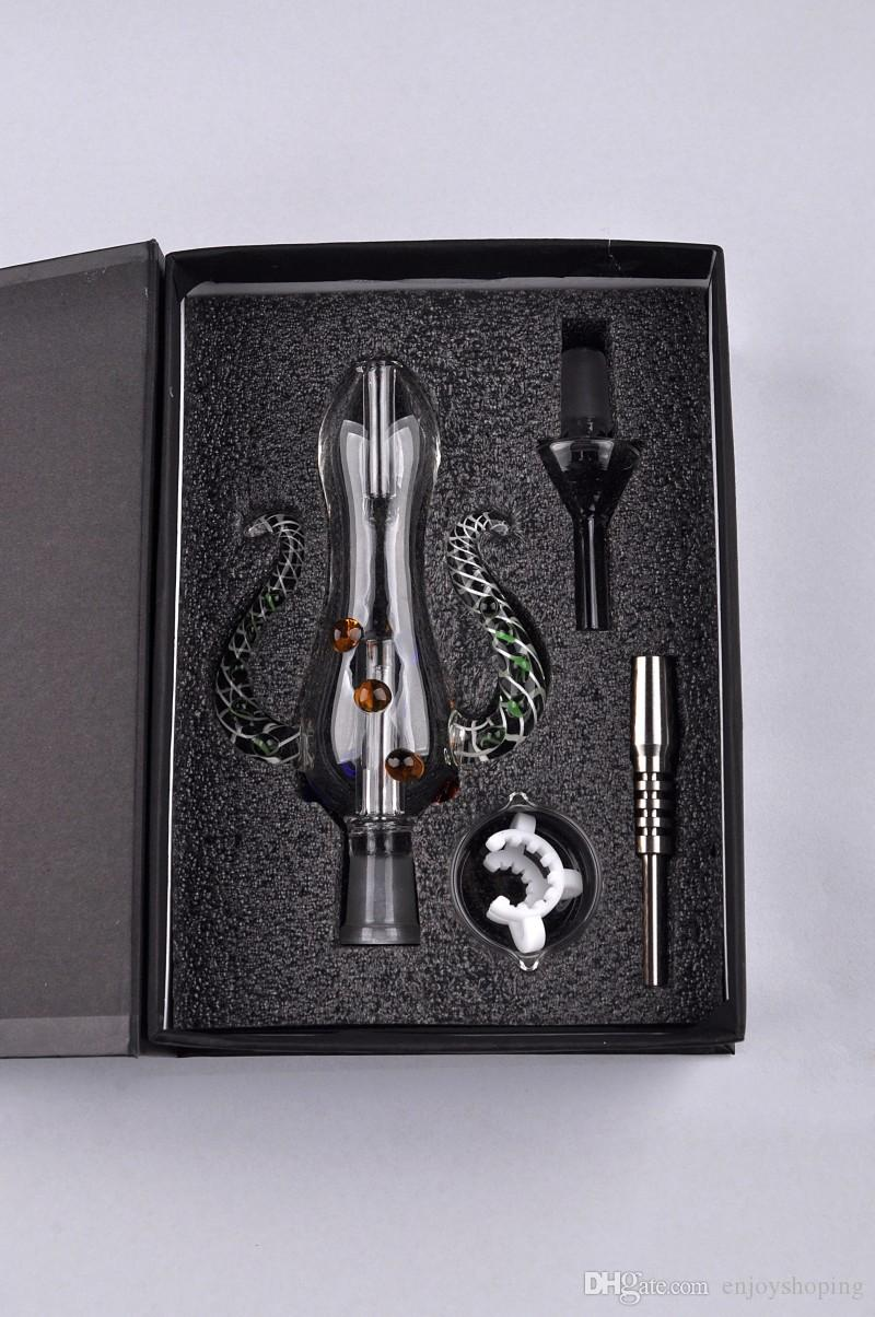 Version 5.0 Bong Nectar Collector Set Water Pipe Octopus Design 14mm Mini Nectar Collecter Kit W/Titanium Nail 14mm Glass Water Pipes