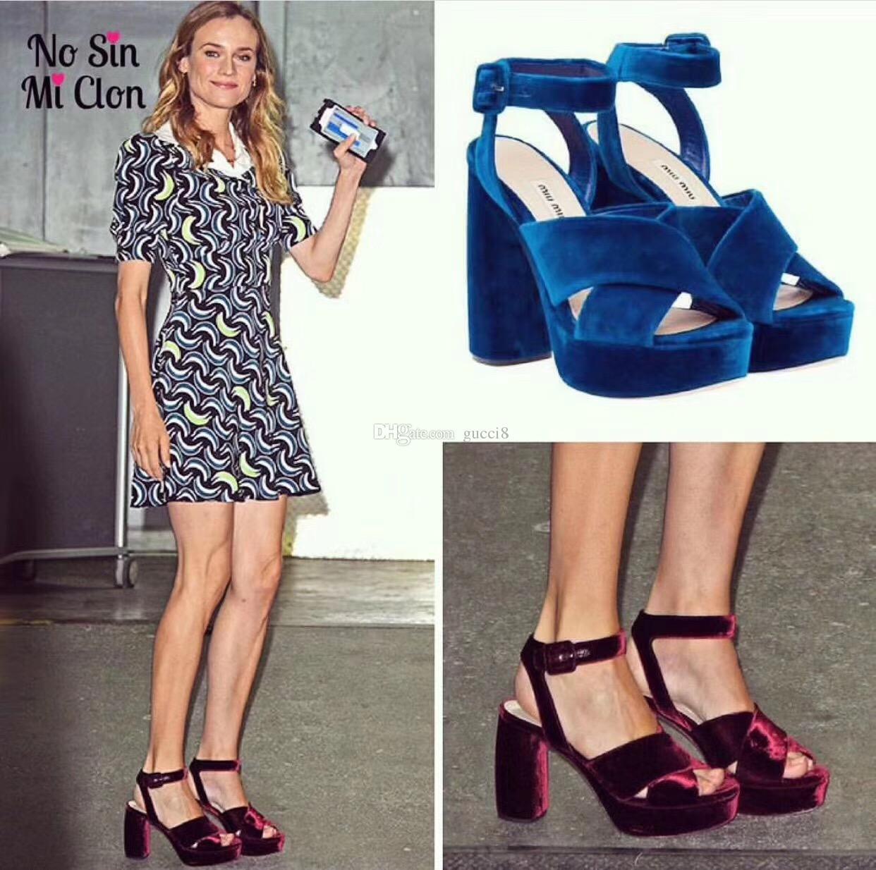 Wine Red Royal Blue Velvet Platform Sandals Criss Cross Buckle High heels Ladies Gladiators Summer Party Shoes