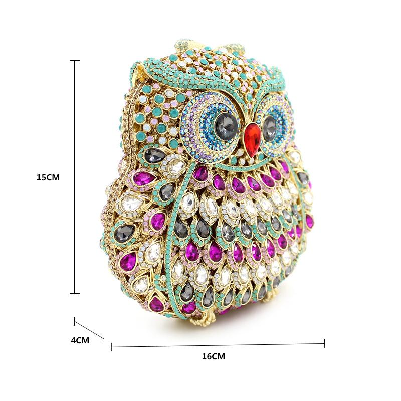 Winmax diamonds eyes shiny Owl shape women cltch Dazzling handmade prom evening hand bag Luxury party bags crystal clutch bag