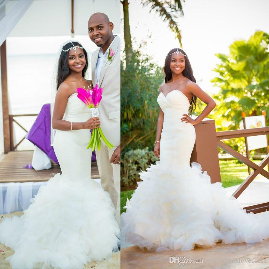 Elegant African American Black Girl Princess Wedding Dress Mermaid Sweetheart Ruffles Organza Dresses Bridal Gown