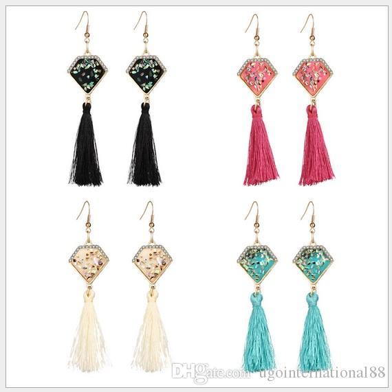 dab631b13 2019 Bohemia Long Silk Tassel Earrings Gemstone Ethnic Statement Vintage Drop  Dangle Earrings Handmade Pendents Earrings Fashion Jewelry Women From ...
