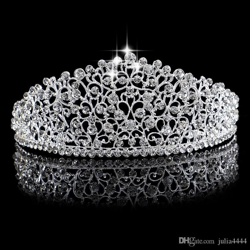 Великолепное Игристое Серебро Большая Свадьба Diamante Конкурс Tiaras Hairband Кристалл Свадебные Коронки Для Невест Выпускного Вечера Ювелирные Изделия Головной Убор Головной Убор