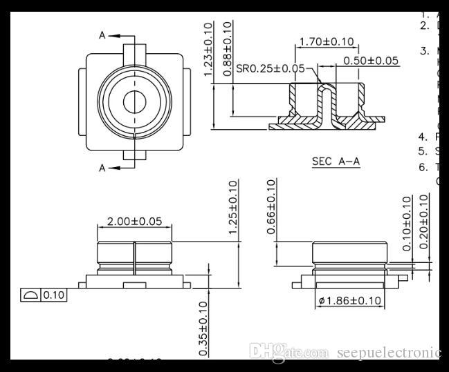 Kostenloser Versand U.FL Sitz IPEX / IPX-Anschluss U.FL-R-SMT HF-Koaxialanschluss Antennenfuß 20279-001E FOXCCON Vergoldet Thick Jack