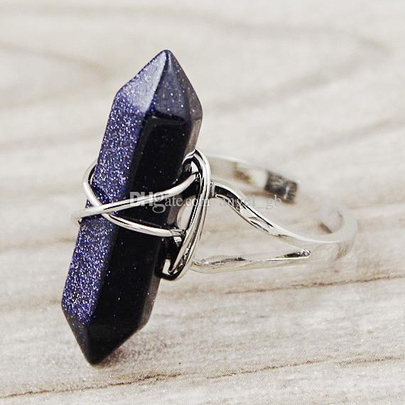 Anelli di cristallo di guarigione al quarzo misto Anello di chakra Pietra preziosa perline di pietra Anello regolabile di gioielli in argento