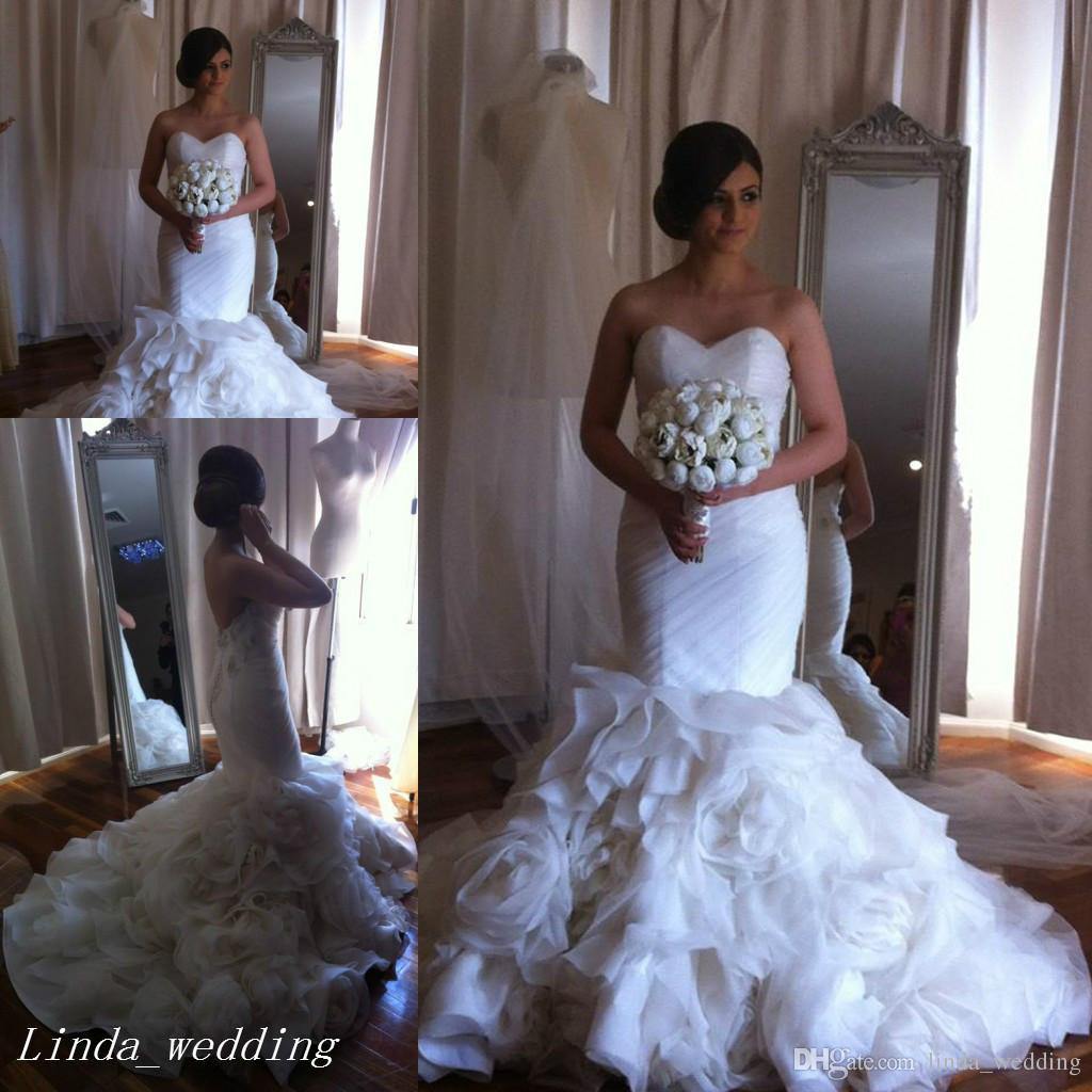 44715f9dc2592 High Quality Pnina Tornai White Wedding Dresses Mermaid Sweetheart Ruffles  Formal Long Women Bridal Party Gowns Lace Mermaid Style Wedding Dresses  Mermaid ...