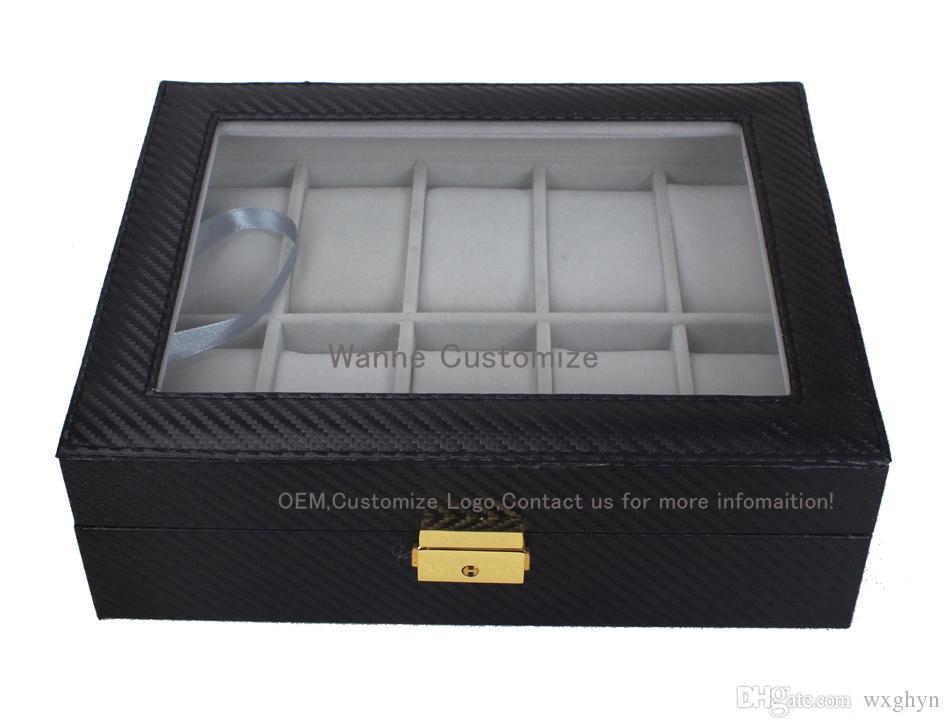 10 Griglie Slot PU New Bias Leather Brand Logo Watch Box Display Organizer Vetro Top Storage gioielli ORGANIZER BOX BLACK Grigio Interial