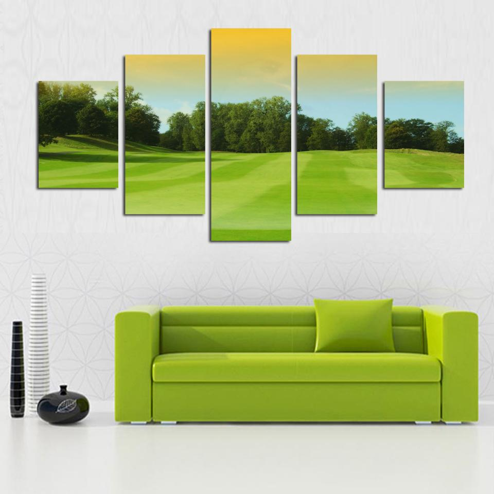 2018 time limited art design wallpaper 5 panel green grassland tree painting hd landscape picture canvas art home decor living room from samwu333