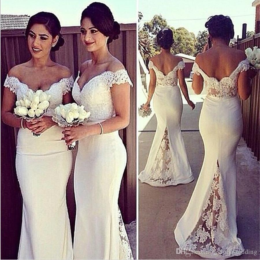 Elegant Long Formal Dresses for Women Lace Off Shoulder Mermaid Sweep Train Corset Cheap Bridesmaid Dresses Covered Button Back Sweep Train