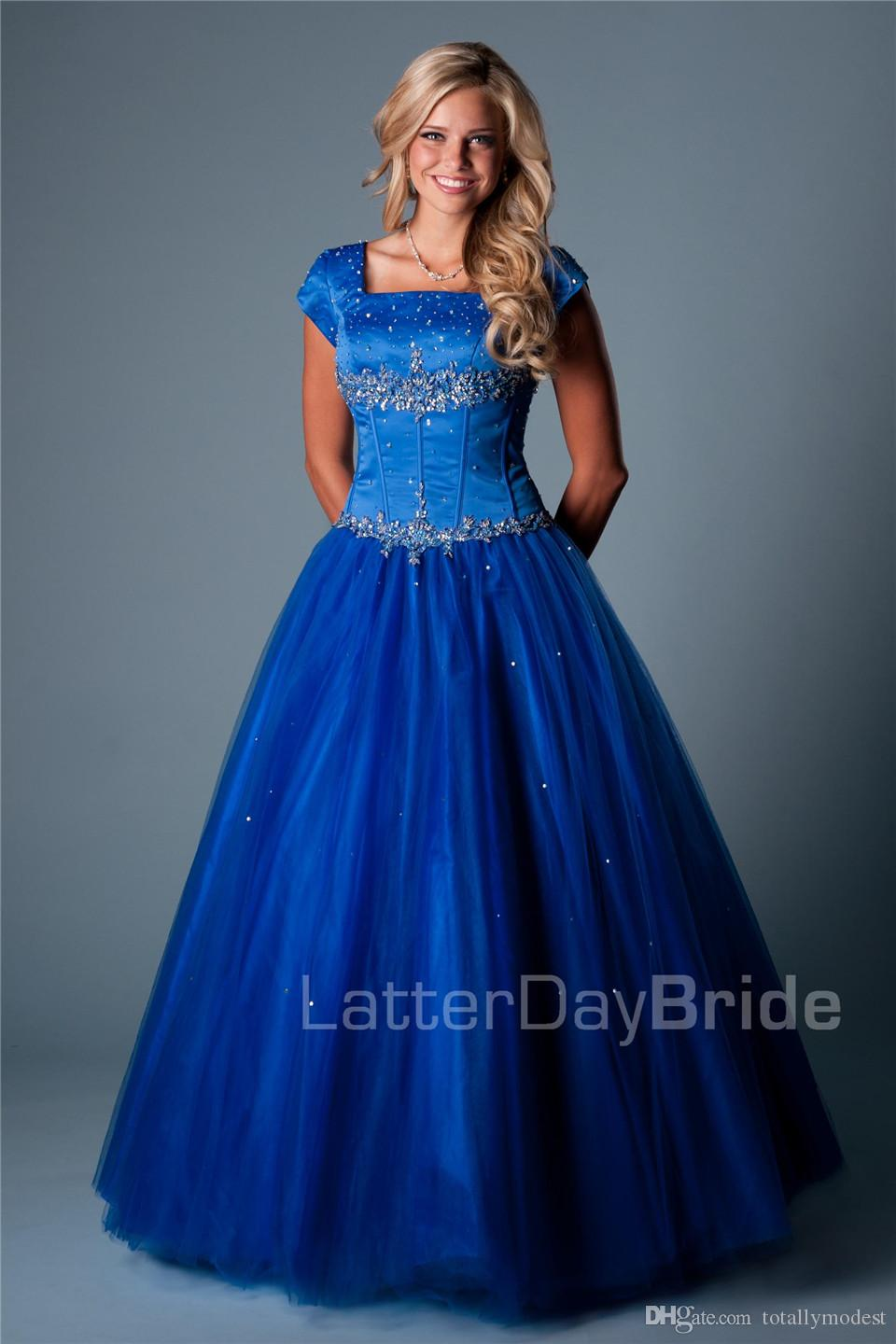 Royal Blue Ball Gown Long Modest Prom Dresses With Cap Sleeves Square Beaded Crystals Puffy Floor Length Girls Teens Prom Party Dresses