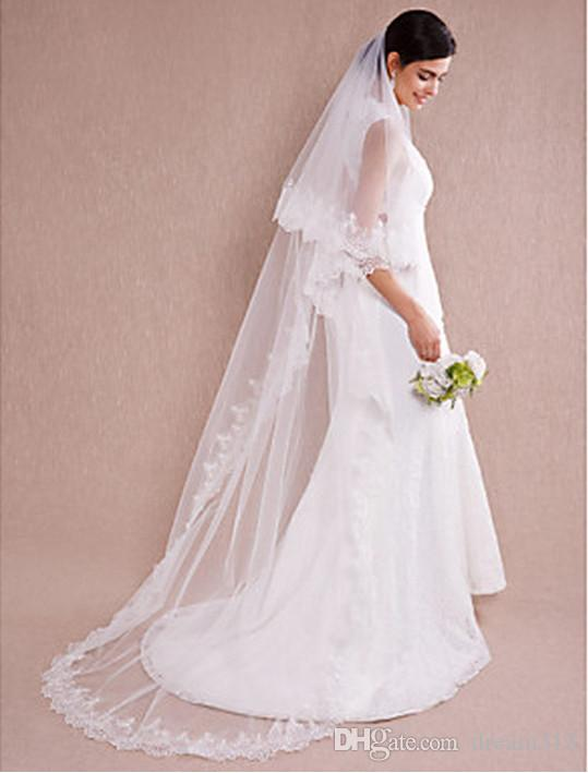 2016 New Top Quality Sexy Romantic Chapel Lace Applique veil With Pearl Bridal Head Pieces For Wedding Dresses