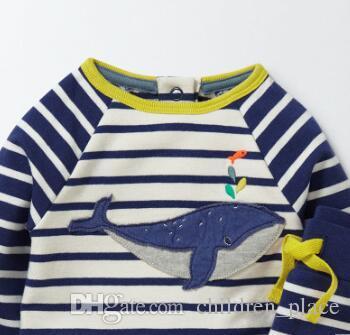 Venta al por mayor a estrenar de la moda de los niños pequeños bordado de ballenas conjunto de ropa de rayas Baby Boy Casual HomeWear ropa de dormir 2 piezas Set envío gratis